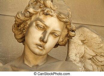 angelo, scultura, faccia, -