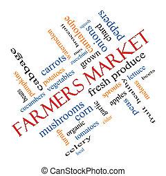 angolato, concetto, parola, coltivatori introducono mercato, nuvola