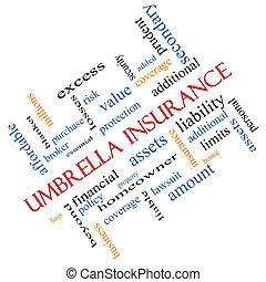 angolato, concetto, parola, ombrello, assicurazione, nuvola
