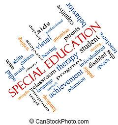 angolato, concetto, parola, speciale, educazione, nuvola