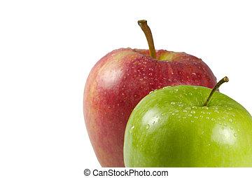 angolo, mela verde, rosso