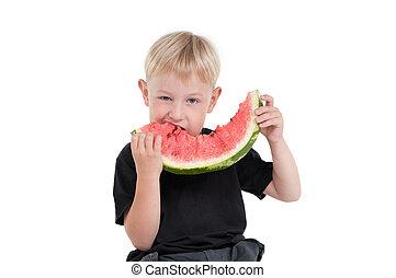 anguria, ragazzo, 3, mangiare, serie