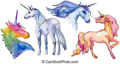 animale, element., corno, dolce, unicorno, isolato, carino, fairytale, dream., character., horse., illustrazione, arcobaleno, bambini