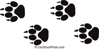animale, passi, vector., piste, piede, disegno, isolato, fauna, bianco, tracce, stampe, concetto