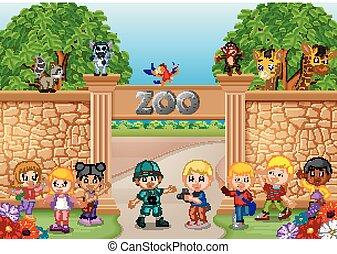 animale, zookeeper, gioco, bambini, zoo