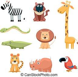 animali, colorato, arte clip, divertimento, set, infantile, africano, cartone animato, brillantemente, collection.