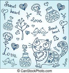 animali, differente, fondo, carino, oggetti