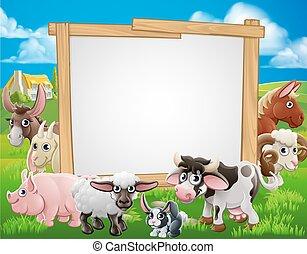 animali, fattoria, cartone animato, segno