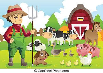 animali fattoria, contadino