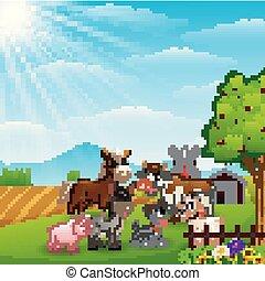 animali fattoria, fondo, felice