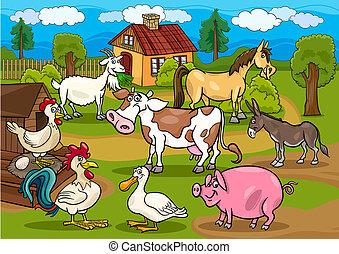 animali, fattoria, scena, illustrazione, rurale, cartone animato