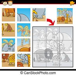 animali, puzzle, jigsaw, gioco, selvatico, cartone animato