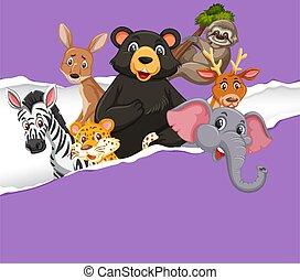 animali, sagoma, fondo, selvatico, carta, disegno, viola
