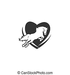 animals., horse., suitable, stampino, concetto, isolato, amare cuore, t-shirt, logotipo, forma, mascotte, disegno, nero, clothes., vettore, silhouette, o, stampa, illustrazione