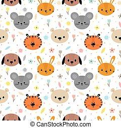 animals., seamless, floreale, infantile, struttura, modello, carino, bambino, clothes., vivaio, fondo, smiley, tessuto, tessile, divertente, creativo