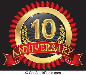 anni, 10, dorato, anniversario