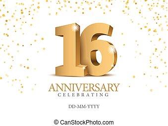 anniversario, 16., oro, 3d, numbers.