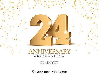 anniversario, oro, numbers., 3d, 24.