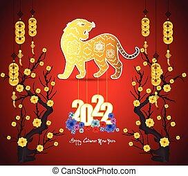 anno, cinese, -, tiger., nuovo, 2022