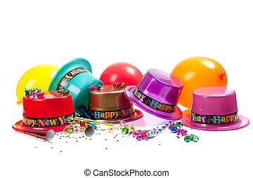 anno, felice, cappelli, nuovo, bianco