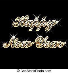 anno, felice, oro, bling, nuovo