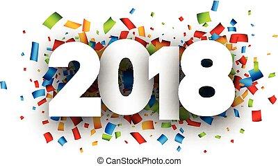 anno, fondo., nuovo, festivo, 2018