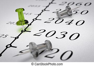 anno, secolo, 21th, linea, tempo, 2030