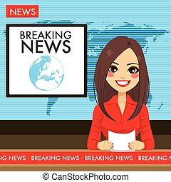 annunciatore, tv, donna, giovane