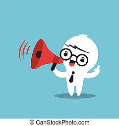 annuncio, affari, fare, carattere, megafono, cartone animato