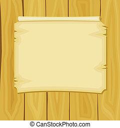 annuncio, assi, legno, illustrazione, vettore, cartone animato