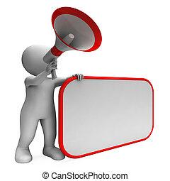 annuncio, cartellone, hailer, spazio, esposizione, messaggio bianco, copia, forte, o
