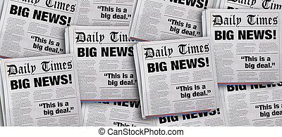 annuncio, grande, illustrazione, fondo, giornale, notizie, titoli, 3d