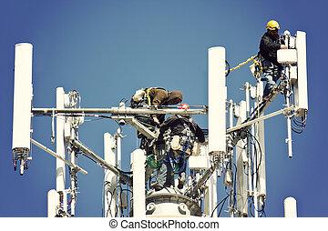 antenne, installare, equipaggio
