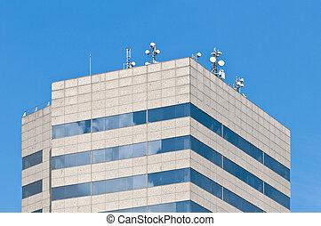 antenne, moderno, tetto, telecomunicazione, costruzione.