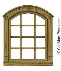anticaglia, arched, legno, scandinavo, fantasia, finestra, gotico