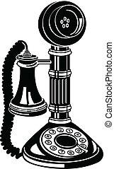 anticaglia, arte, clip, telefono, telefono, o