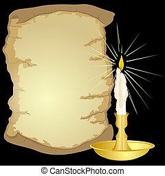 anticaglia, candela, pergamena