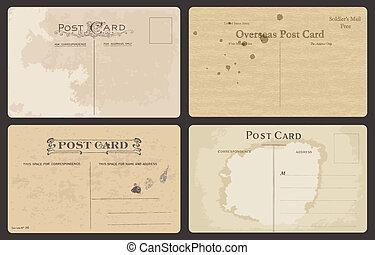 anticaglia, cartoline, set, vettore