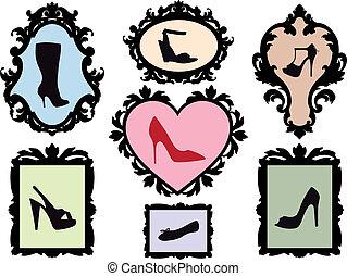 anticaglia, cornici, silhouette, scarpa
