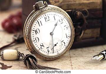anticaglia, decorazione, orologio, tasca, oggetti, retro