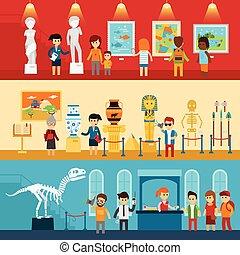 anticaglia, galleria, guida, arte, sguardo, persone, astratto, paleontologia, museum., appartamento, isolato, visitatori, vettore, mostra, escursione, bandiere, museo, illustration.