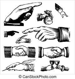 anticaglia, incisioni, (vector), mani