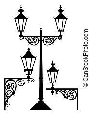 anticaglia, lampade, set, luce stradale
