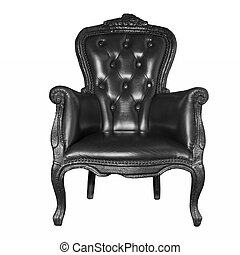 anticaglia, nero, sedia, isolato, cuoio, bianco