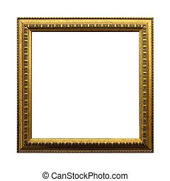 anticaglia, ritaglio, quadrato, oro, cornice, isolato, fondo., includere, percorso, bianco