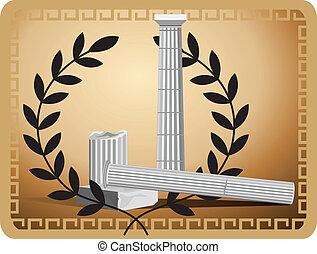 anticaglia, rovine, colonna