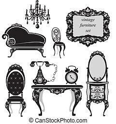 anticaglia, set, mobilia