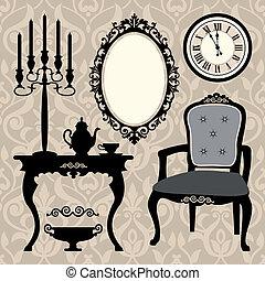 anticaglia, set, oggetto, mobilia