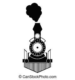 anticaglia, treno, nero, vettore
