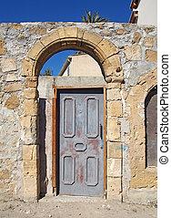 antico, cornice, arched, strada, cipro, porta, legno, vecchio, muro pietra, nicosia, soleggiato